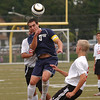 Cheltenham's David Goldberg battles UD's Jared Pfeffer and Brian Schaefer for a header.<br /> Bob Raines 9/7/11