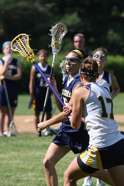 Cheltanham's Olivia Dudo charges for the goal as Wissahickon's Zoe Kale tries to head her off.<br /> Bob Raines 5/7/10