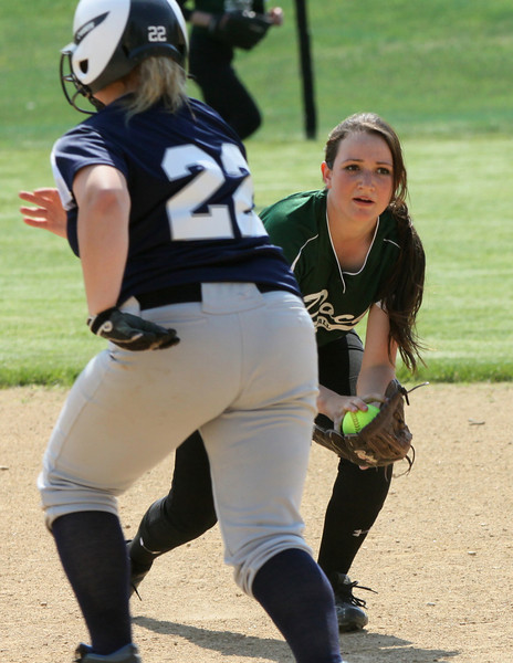 Christopher Dock's Shannon Fitzgerald looks to first base after scooping a ground ball at second.