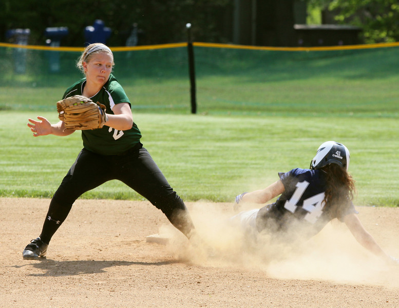 Springfield's Brianna Littlepage steals second base as the throw gets to Christopher Dock short stop Sarah Ryder too late.