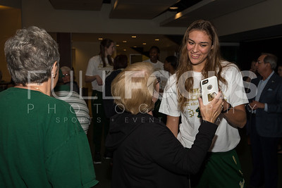 South Florida Bulls guard/forward Ariadna Pujol (11) speaks with fans during the NCAA selection party at the Sun Dome on March 13, 2017 in Tampa, Florida.