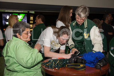 South Florida Bulls center Katelyn Weber (45) speaks with fans during the NCAA selection party at the Sun Dome on March 13, 2017 in Tampa, Florida.