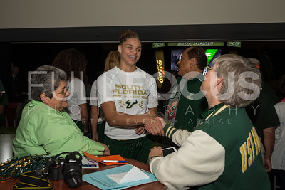 South Florida Bulls forward Tamara Henshaw (23) speaks with fans during the NCAA selection party at the Sun Dome on March 13, 2017 in Tampa, Florida.