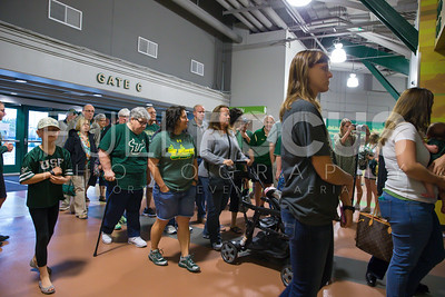 South Florida Bull fans wait to enter the NCAA selection party at the Sun Dome on March 13, 2017 in Tampa, Florida.