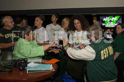 South Florida Bulls forward Laura Ferreira (10) speaks with fans during the NCAA selection party at the Sun Dome on March 13, 2017 in Tampa, Florida.