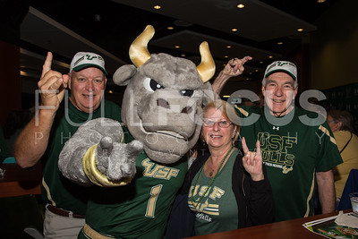 South Florida Bulls mascot Rocky poses with fans during the NCAA selection party at the Sun Dome on March 13, 2017 in Tampa, Florida.