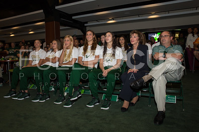 (Left to Right )South Florida Bulls forward Tamara Henshaw (23),  forward Kitija Laksa (33), forward Maria Jespersen (12),  guard/forward Ariadna Pujol (11), guard Laia Flores (22),  President. Dr. Judy Genshaft, and head coach Jose Fernandez wait for the announcement during the NCAA selection party at the Sun Dome on March 13, 2017 in Tampa, Florida.