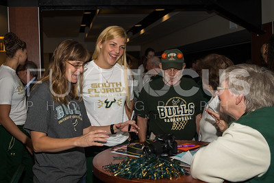 South Florida Bulls forward Maria Jespersen (12) speaks with fans during the NCAA selection party at the Sun Dome on March 13, 2017 in Tampa, Florida.