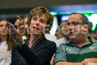 South Florida Bulls President. Dr. Judy Genshaft and  head coach Jose Fernandez during the NCAA selection party at the Sun Dome on March 13, 2017 in Tampa, Florida.