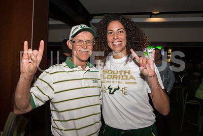 South Florida Bulls forward Laura Ferreira (10) poses for a photographer with a fan during the NCAA selection party at the Sun Dome on March 13, 2017 in Tampa, Florida.