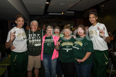 South Florida Bulls forward Tamara Henshaw (23) and  forward Jazz Bond (3) take a photo with fans during the NCAA selection party at the Sun Dome on March 13, 2017 in Tampa, Florida.