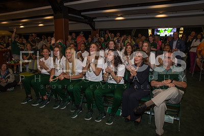 (Left to Right )South Florida Bulls forward Tamara Henshaw (23),  forward Kitija Laksa (33), forward Maria Jespersen (12),  guard/forward Ariadna Pujol (11), guard Laia Flores (22),  President. Dr. Judy Genshaft, and head coach Jose Fernandez reaction to the tournament selection during the NCAA selection party at the Sun Dome on March 13, 2017 in Tampa, Florida.