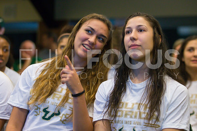 South Florida Bulls guard/forward Ariadna Pujol (11) and South Florida Bulls guard Laia Flores (22) during the NCAA selection party at the Sun Dome on March 13, 2017 in Tampa, Florida.