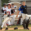 Souderton's Micah Plank scores run while Deep Run catcher Joe Unangst waits for throw in Connie Mack game, Monday night. KenZepp 6-20-11