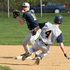 Springfield's David Langlois holds his throw after forcing Devon Prep's Matt Burke at second.<br /> Bob Raines 4/26/11