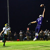 KRISTOPHER RADDER - BRATTLEBORO REFORMER<br /> The ball slips though the hands of Bellows Falls Shane Clark in the end zone during a football game at Bellows Falls Union High School on Friday, Sept. 15, 2017.