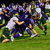 KRISTOPHER RADDER - BRATTLEBORO REFORMER<br /> Burr and Burton's DJ Mulroy catches the ball for a first down during a football game at Bellows Falls Union High School on Friday, Sept. 15, 2017.