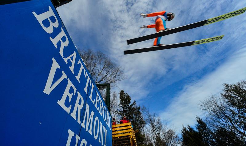 KRISTOPHER RADDER - BRATTLEBORO REFORMER<br /> Josef Dirnbauer soars off the Harris Hill Ski Jump in Brattleboro, Vt., during early morning practice on Saturday, Feb. 18, 2017.
