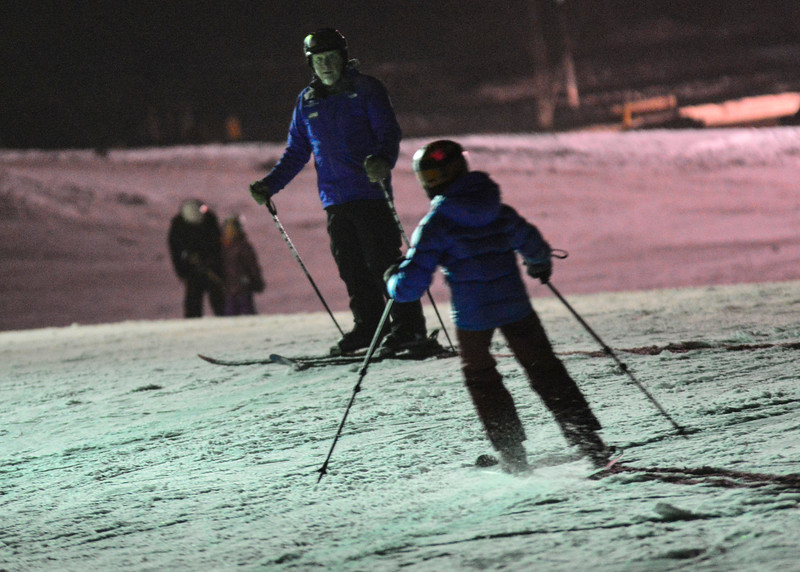 KRISTOPHER RADDER - BRATTLEBORO REFORMER<br /> Kevin Beach, a ski instructor for Mount Snow,  watches his students ski during a free lesson at Living Memorial Park on Thursday, Jan. 11, 2018.