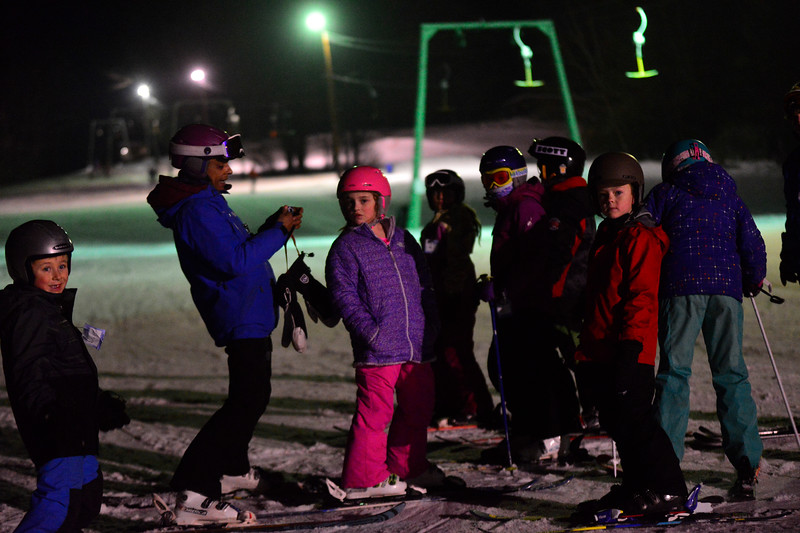 KRISTOPHER RADDER - BRATTLEBORO REFORMER<br /> Leslie Kearsley, a ski instructor for Mount Snow, talks to a group of children during a free lesson at Living Memorial Park on Thursday, Jan. 11, 2018.