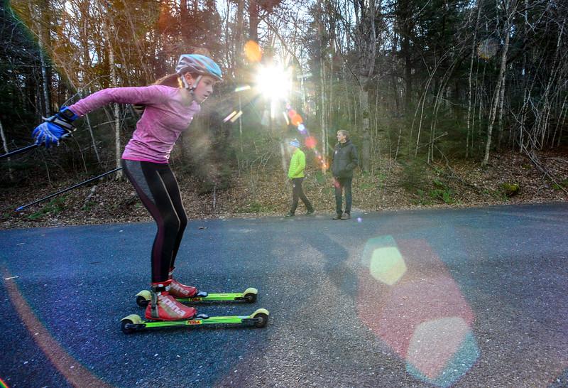 KRISTOPHER RADDER - BRATTLEBORO REFORMER<br /> Sage Freeman, of Peru, Vt.,  roller skis on Ball Mountain Lane during a cross-country ski practice on Wednesday, Nov. 29, 2017.