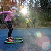 KRISTOPHER RADDER - BRATTLEBORO REFORMER<br /> Sage Freeman, of Peru, Vt.,  roller skis on Ball Mountain Lane during a cross-country ski practice on Wednesday, Nov. 29, 2017.