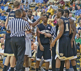Mario getting the folks at wake Forest told after a nasty foul against Tech.