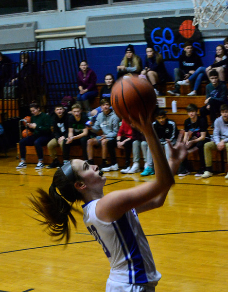 KRISTOPHER RADDER — BRATTLEBORO REFORMER<br /> Hinsdale's Angelina Nardollia takes a shot during a girls' basketball game at Hinsdale High School on Monday, Jan. 7, 2019.