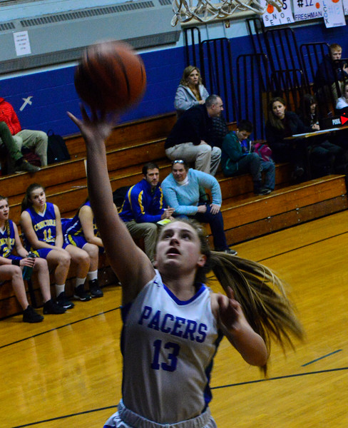 KRISTOPHER RADDER — BRATTLEBORO REFORMER<br /> Hinsdale's Delaney Wilcox takes an attempt during a girls' basketball game at Hinsdale High School on Monday, Jan. 7, 2019.