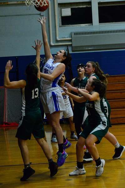 KRISTOPHER RADDER — BRATTLEBORO REFORMER<br /> Hinsdale's Angelina Nardollia gets through Sunapee's defense during a basketball game on Friday, Jan. 4, 2018.