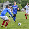 KRISTOPHER RADDER — BRATTLEBORO REFORMER<br /> Hinsdale's Alex Gaffney  takes an attempt on goal during a boys' soccer match at Hinsdale Middle High School on Thursday, Sept. 12, 2019.