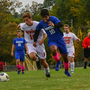 KRISTOPHER RADDER — BRATTLEBORO REFORMER<br /> Hinsdale's Arth Patel battles Newport's Gavin Callum during a boys soccer game at Hinsdale Middle High School on Tuesday, Oct. 8, 2019.