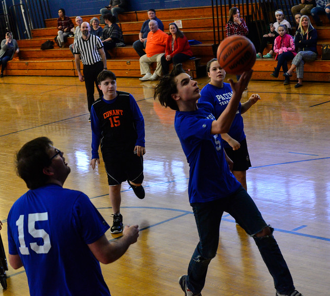 KRISTOPHER RADDER — BRATTLEBORO REFORMER<br /> Hinsdale's Brandon Doyle takes the ball down the lane  during a unified basketball game at Hinsdale Middle High School on Monday, Feb. 4, 2019.