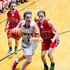 KRISTOPHER RADDER - BRATTLEBORO REFORMER<br /> Hinsdale's Skyler LeClair gets past Mascenic's defense during a girls' varsity basketball game at Hinsdale High School on Tuesday, Jan. 10, 2017.