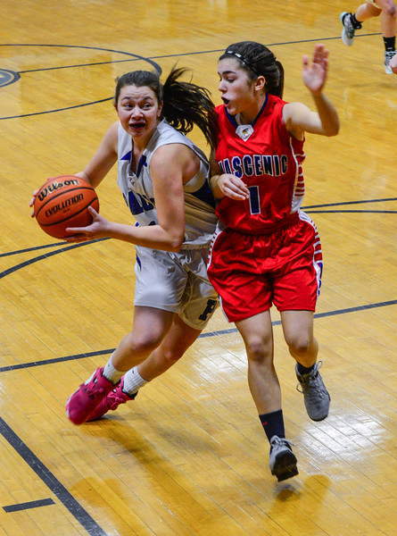 KRISTOPHER RADDER - BRATTLEBORO REFORMER<br /> Hinsdale's Skyler LeClair tries to get around Mascenic's Shelby Babin during a girls' varsity basketball game at Hinsdale High School on Tuesday, Jan. 10, 2017.