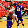 KRISTOPHER RADDER - BRATTLEBORO REFORMER<br /> Hinsdale's Danny Roberts tries to get through two Nute's defenders during the fifth place game of the 2016 Zero Gravity Holiday Basketball Tournament hosted by Keene State College on Wednesday, Dec. 28, 2016.