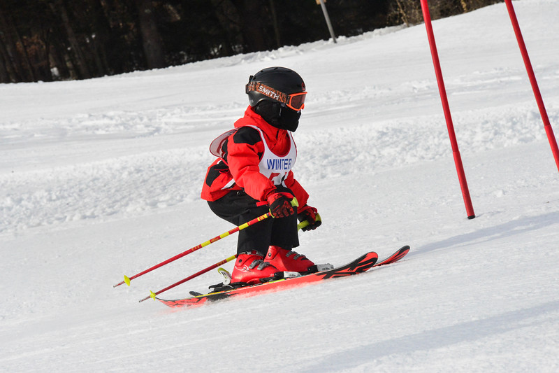 KRISTOPHER RADDER - BRATTLEBORO REFORMER<br /> Spencer Jones speeds through the gates during the Junior Olympics Downhill Ski Races at Living Memorial Park on Monday, Feb. 19, 2018.