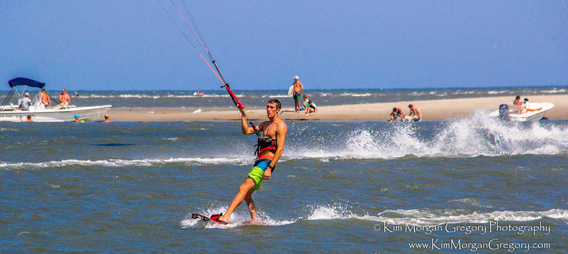 KITEBOARDING along side THE AMERICAN FLAG