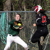 SB_LC HH_1213<br /> Lansdale Catholic's Alicia Kradzinski gets the throw toolate to force Hatboro Horsham's Dana Edwards at first base.<br /> Bob Raines 3.26.12