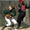 SB_LC HH_1166<br /> Lansdale Catholic's Lexi Mayo moves to first to force Hatboro Horsham's Jen Cader on a bunt.<br /> Bob Raines 3.26.12
