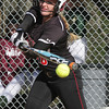 SB_LC HH_1161<br /> Hatboro Horsham's Nicole Casagrand gets a piece of a Lansdale Catholic pitch.<br /> Bob Raines 03.26.12