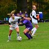 KRISTOPHER RADDER — BRATTLEBORO REFORMER<br /> Leland & Gray's Erin Bates gets around Bellows Falls' Izzy Stack during a girls soccer match at Bellows Falls Union High School on Wednesday, Oct. 9, 2019.