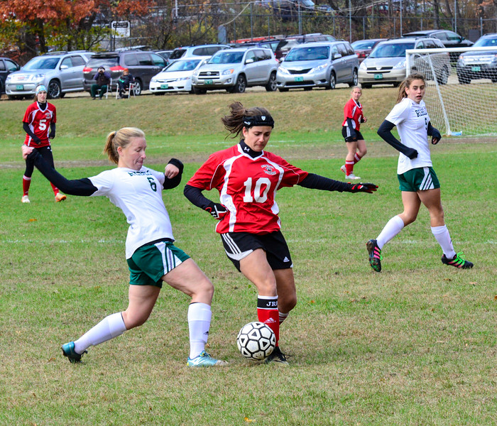 Twin Valley's Karlee Walkowiak tries to keep the ball away from Leland & Gray's Jessica Madore during a playoff game at Leland & Gray Union High School on Tuesday, Oct. 25, 2016.  Kristopher Radder / Reformer Staff