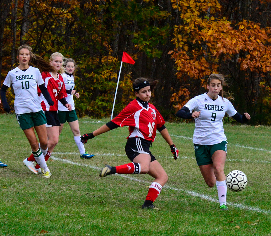 . Twin Valley\'s Karlee Walkowiak tries to take an attempt on goal during a playoff game at Leland & Gray Union High School on Tuesday, Oct. 25, 2016.  Kristopher Radder / Reformer Staff