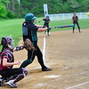 KRISTOPHER RADDER - BRATTLEBORO REFORMER<br /> Leland & Gray's Olivia Brown hits a single to score a couple of runs against Proctor during a softball game at Leland & Gray Union Middle and High School on Wednesday, May 23, 2018.