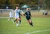 KELLY FLETCHER, REFORMER CORRESPONDENT -- Leland & Gray's Ayla Ryan has her eye on the ball as Rivendell's Adele Tilden tries to maintain possession during Friday's Senior Day game in Townshend.