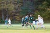 KELLY FLETCHER, REFORMER CORRESPONDENT -- The ball slips through the hands of Rivendell keeper, Lauren Hair as Leland & Gray's Arin Bates simutaneously goes for a header during the senior day game in Townshend on Friday