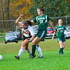 KRISTOPHER RADDER — BRATTLEBORO REFORMER<br /> Twin Valley's Sadie Boyd competes with Leland & Gray's Bay Holmes during a soccer match on Tuesday, Oct. 9, 2018.