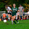 KRISTOPHER RADDER — BRATTLEBORO REFORMER<br /> Twin Valley's Jayden Crawford kicks the ball away from Leland & Gray's Briana Chowning during a soccer match on Tuesday, Oct. 9, 2018.