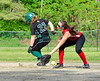 The ball gets away from Twin Valley's Brianna Rafus at second to allow Leland & Gray's Jessie Stockwell to advance to third during a softball game on Thursday, May, 26, that was a continuation of a game started  on Friday, May 13, 2016. Leland & Gray would beat Twin Valley 19-0. Kristopher Radder / Reformer Staff